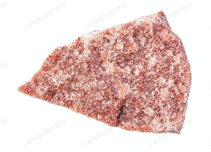 unpoliertes rotes Quarzitgestein isoliert auf weiß