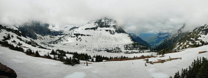 Panoramic view to iced hidden lake
