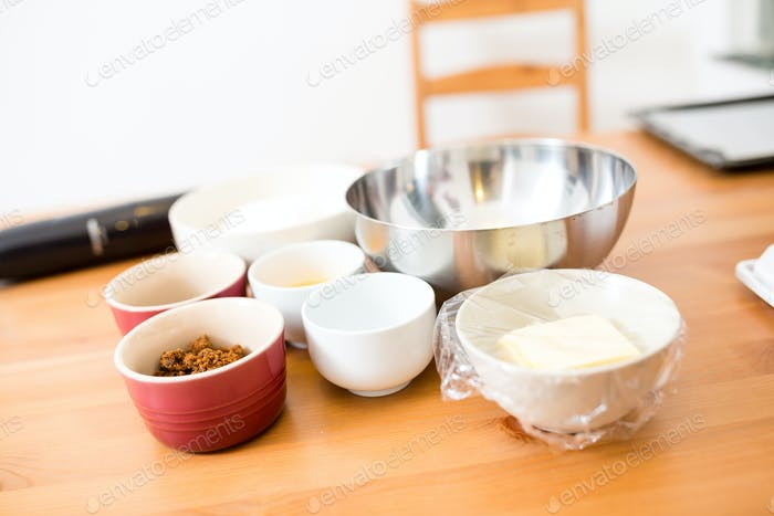 Prepare the ingredient for cooking cookies