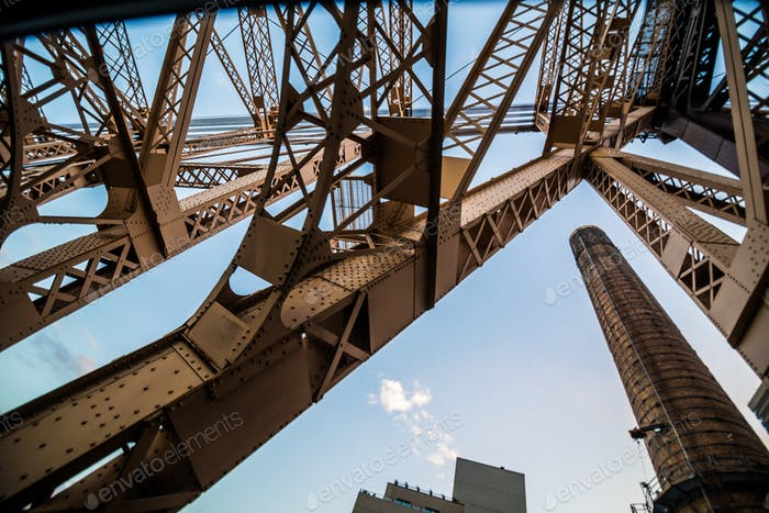 New York Queensboro Bridge Structure from a Car View
