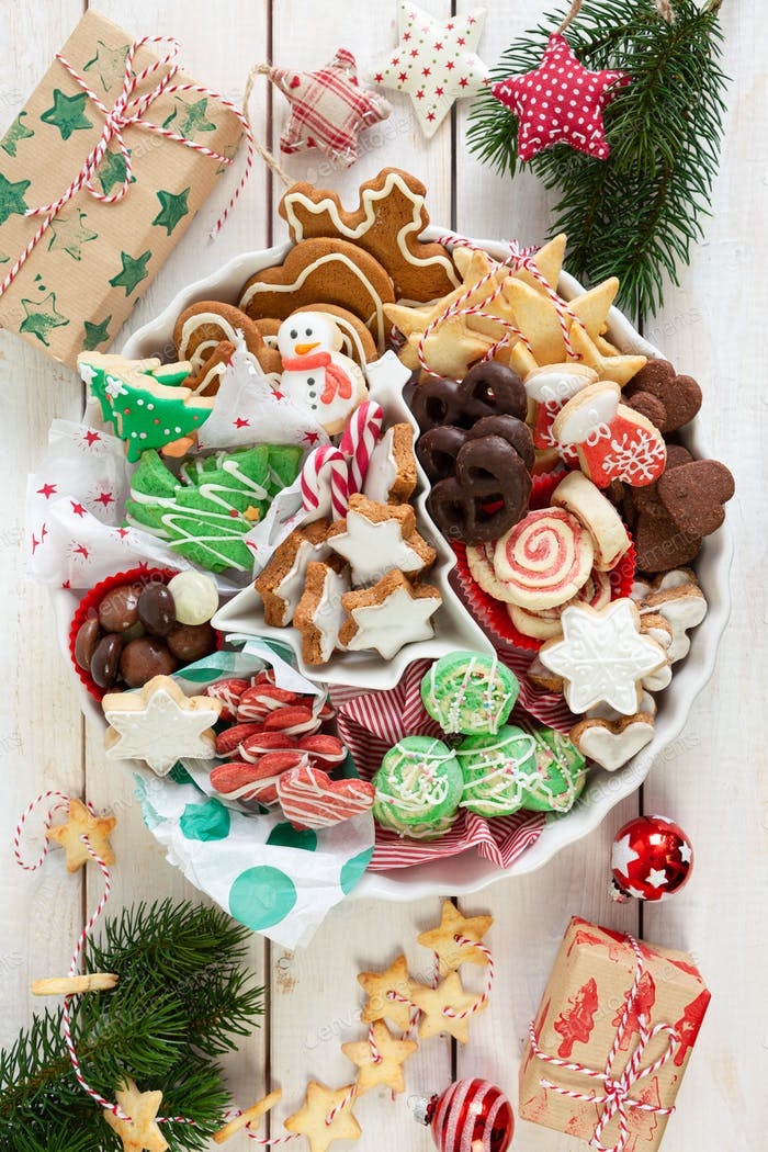 Variety of colorful Christmas cookies and gingerbread