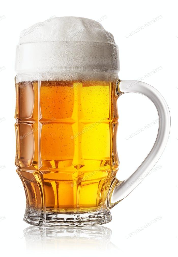 Mug of fresh beer with foam