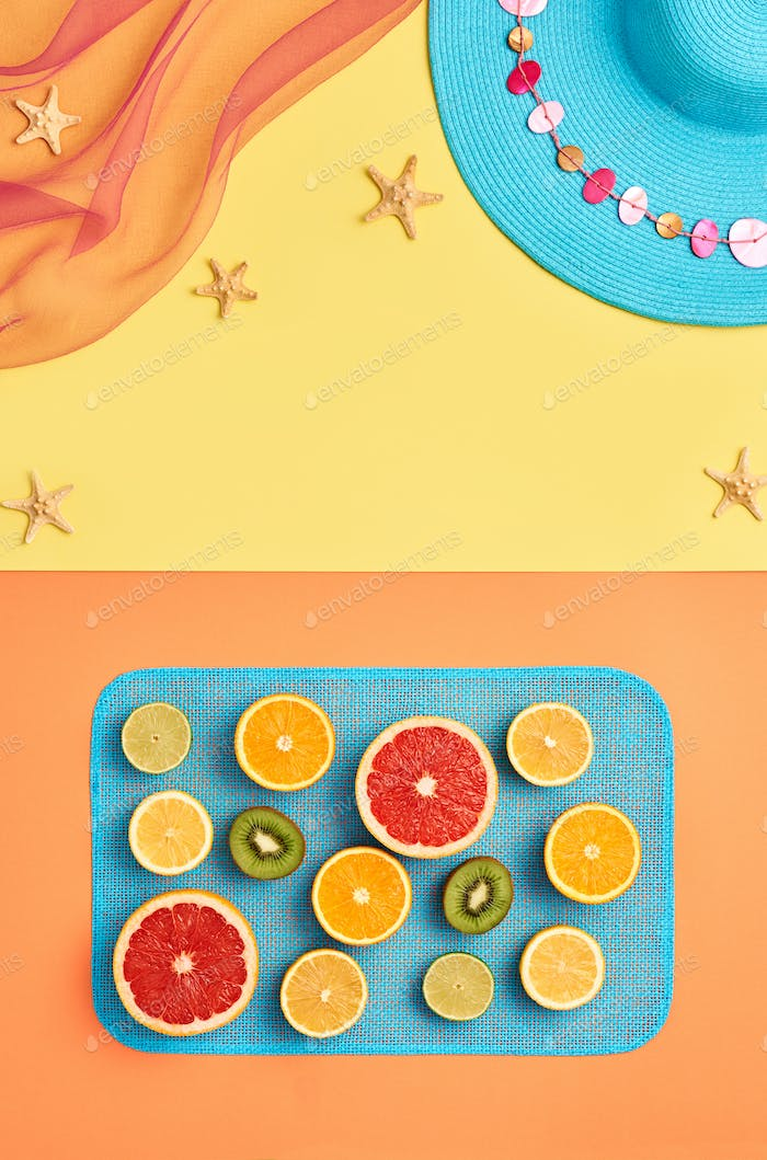 Fashion Summer Beach set. Tropical fruit. Minimal