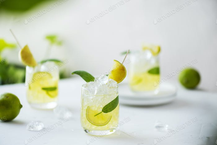 Summer cocktail with sage and lime