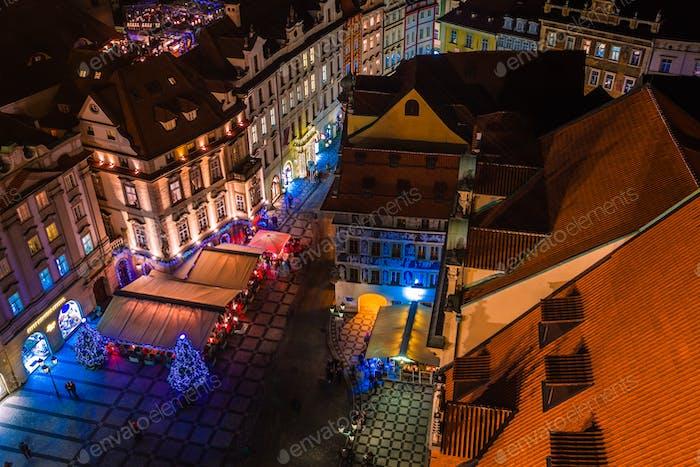 PRAGUE, CZECH REPUBLIC - DECEMBER 22, 2015:  View of prague rooftops in Old Town Prague