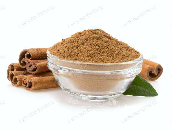 cinnamon in bowl on white