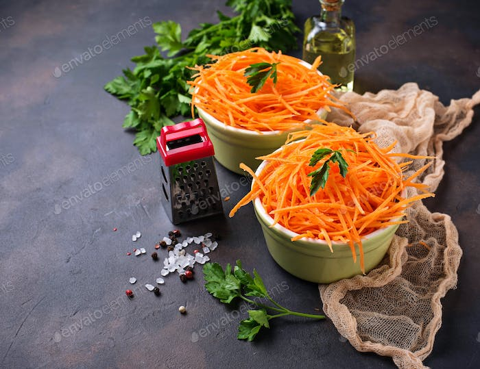 Fresh carrot salad on bowls