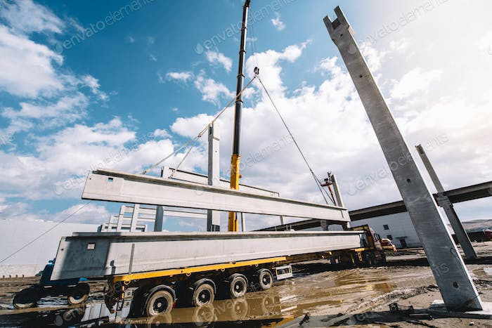 wide angle view of industrial heavy duty crane
