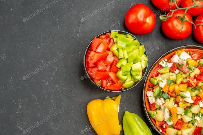 top close-up view seasonal salad seasonal salad made from seasonal vegetables decorated with