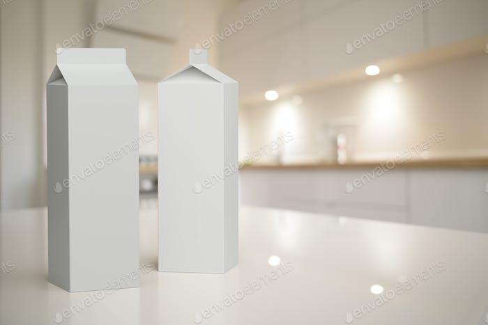 Kartonverpackungsbox Mock-up im Kücheninnenraum.