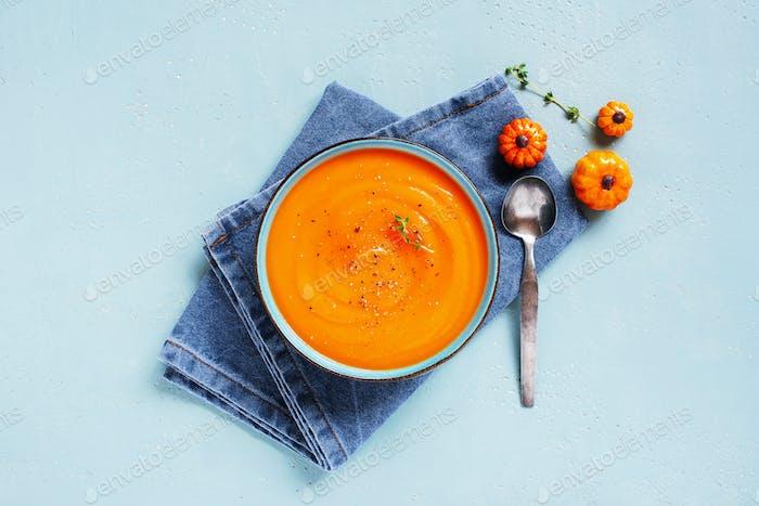 Pumpkin Cream Soup and Denim Napkin