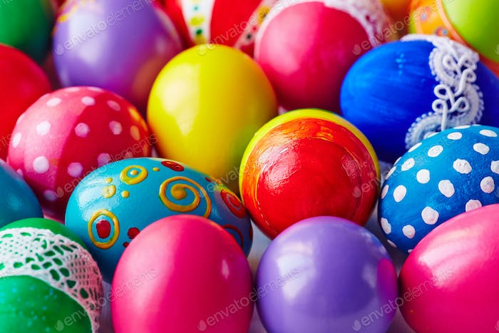 Easter eggs close-up