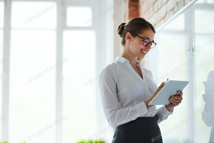 Lehrerin des Business-Kur