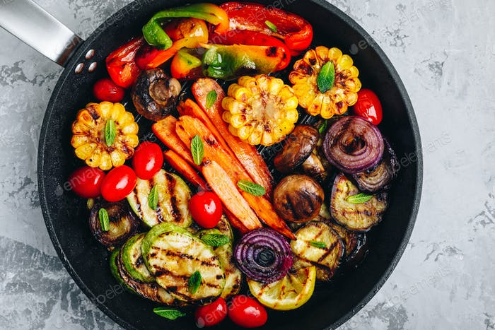 Grilled Vegetable Platter with Zucchini, mushrooms, eggplant