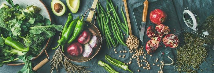 Winter vegetarian or vegan food cooking ingredients, wide composition