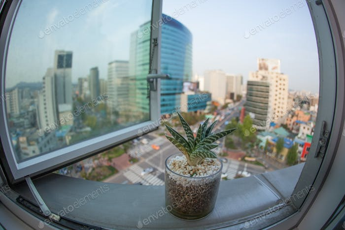 Seoul city in South Korea, window view