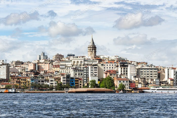 view of Galata (Karakoy) Quarter in Istanbul city