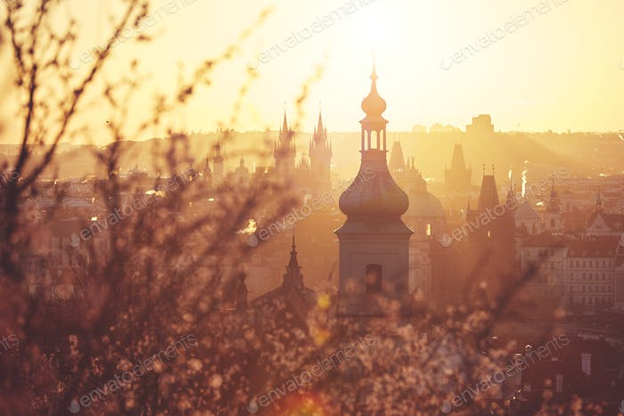 Spring sunrise in Prague