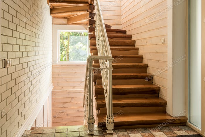 empty staircase in modern cottage house