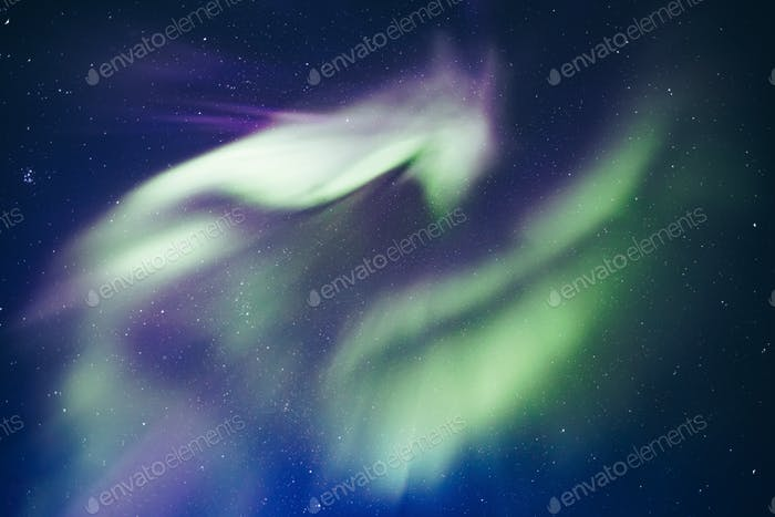 Polar arctic Northern lights Aurora Borealis activity in Finland, Lapland