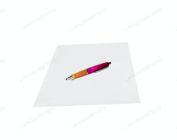 Paper and pen isolated