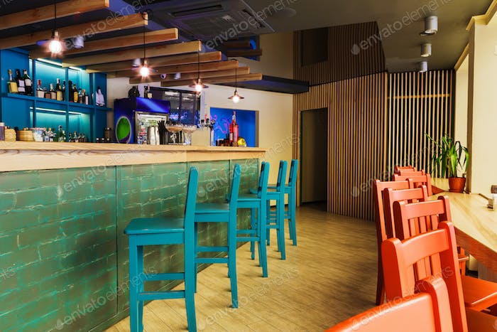 Modern restaurant, bar or cafe interior