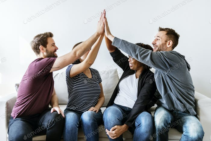 People joined hand together