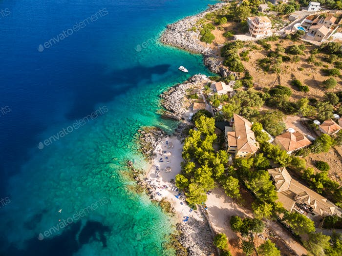 Aerial  view of  Agios Nikolaos city  in Zakynthos (Zante) islan