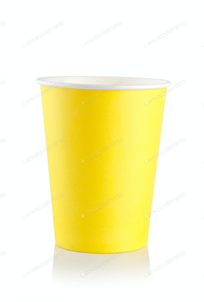 Yellow disposable cup