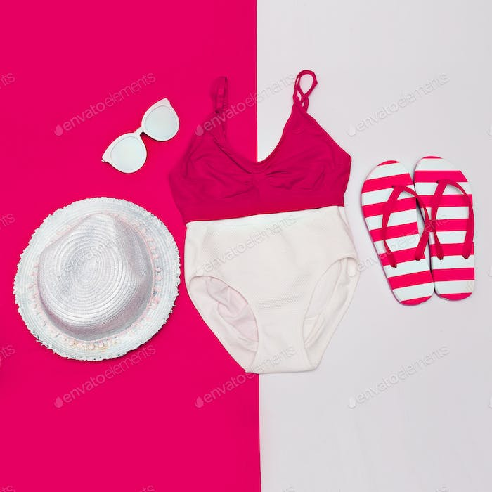 Beach stylish set. Swimsuit and accessories. Minimal art