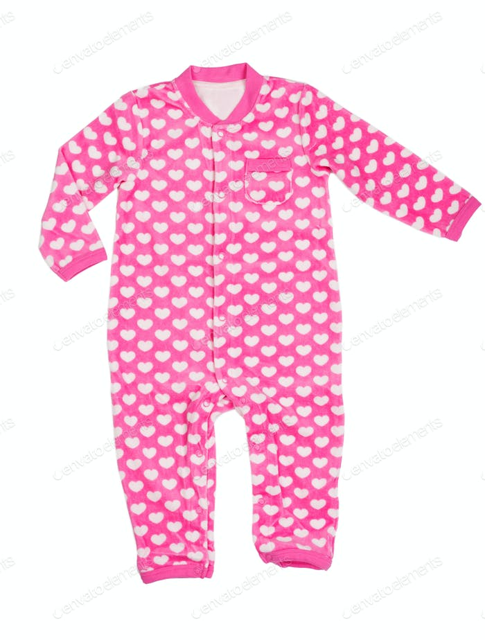 Pink romper with a heart pattern