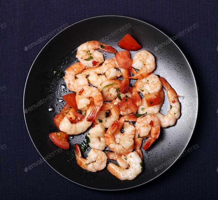 Shrimps. Heap of shrimps on the dish