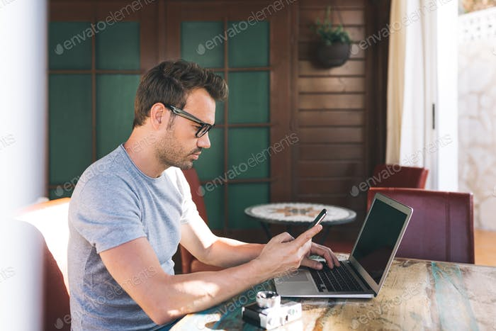 Businessman man working from home