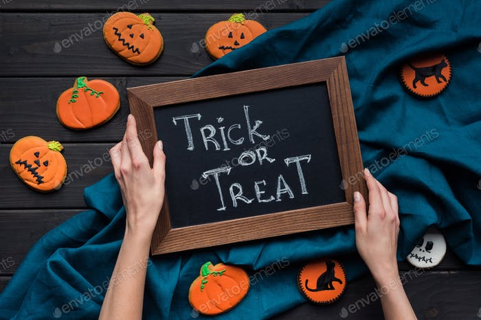 woman holding frame with trick or treat inscription for halloween