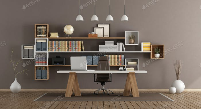 Modern office with wooden furniture