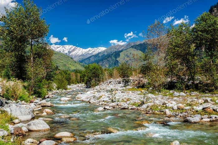 Beas River in Kullu Valley, Himachal Pradesh, India