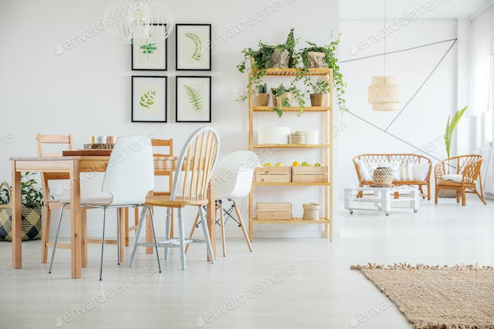 Room with wood dining table