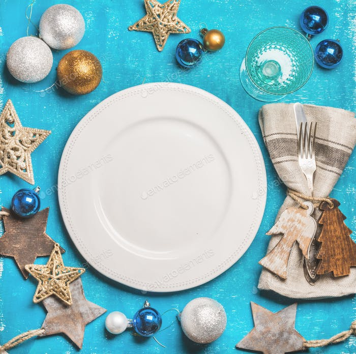 Christmas, New Year holiday background with white plate in center