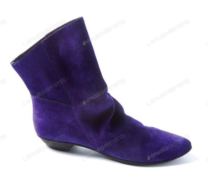Purple low heel suede bootie
