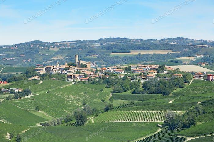 Serralunga town near Alba in Piedmont, Italy
