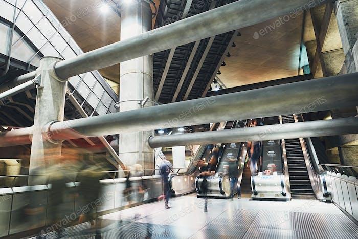 Futuristic vestibule underground station