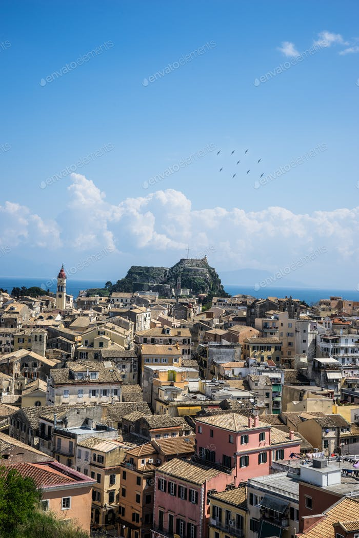 View of the historic center of Corfu town, Greece
