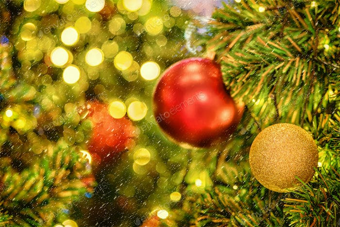 Christmas Tree background over the abstract blurred bokeh, xmas and new year celebration concept