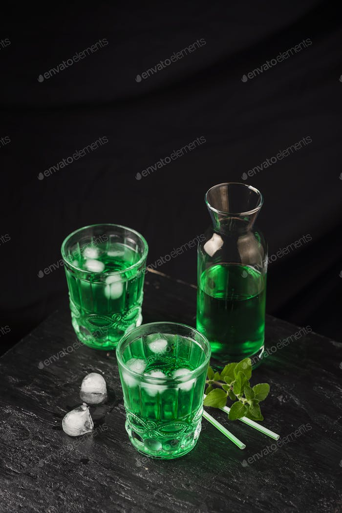 Alcoholic green cocktail