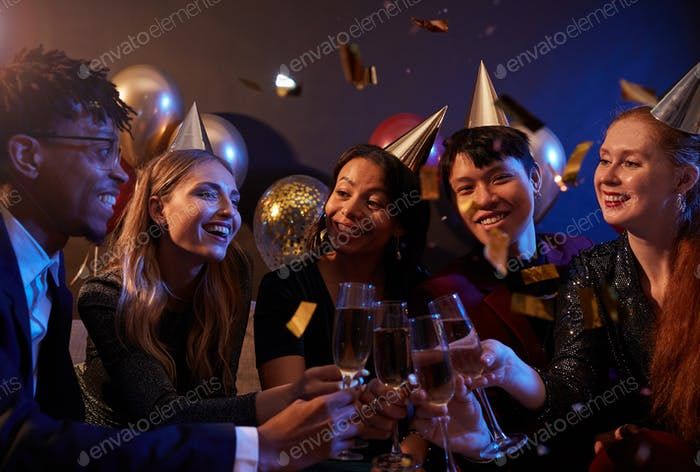 Friends Celebrating at Nightclub Party