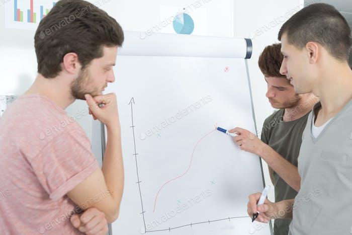 Junge Männer Tracing Graph auf Flipchart