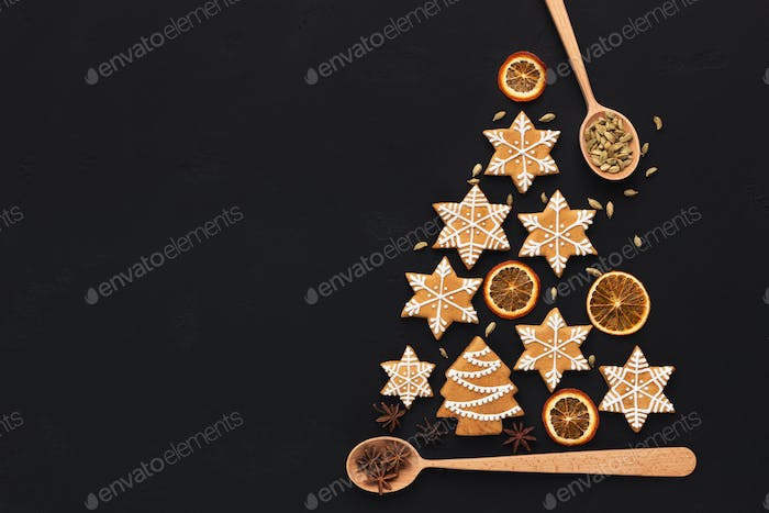 Christmas tree made with gingerbread cookies and decorations
