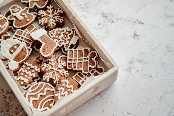 Collection of various shaped gingerbread Christmas cookies
