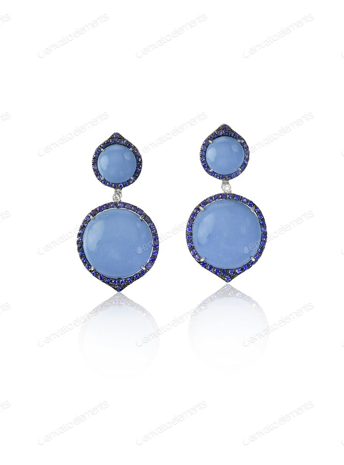 Blue Opal sapphire Fashion Drop Earrings with diamonds