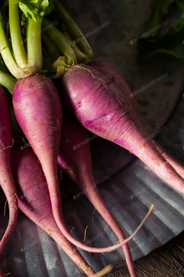 Raw Organic Purple Radishes